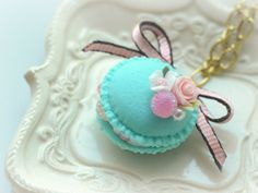 Macaron jewelry, macaroon necklace turquoise color, handmade food jewelry, whimsical necklace, gift under 20