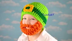 Leprechaun Bearded Beanie! Adorable St Patrick's day Photo Prop! Style: Bearded Beanie Materials: 100% Acrylic Yarn Color: Green, Gold, Black, Orange *Beard is detachable This Bearded Beanie is hand c