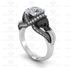 Show details for 'Aphrodite' 1.85ct Diamond Skull White Gold Engagement Ring