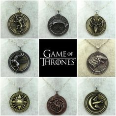 Item Includes: 1pc as shown in the photos Material: Metal Size: About 5cm or 2'' Color: Bronze, ancient silver Weight: about 50 g for each pendant Style: Stark, Lannister, Martell, Targaryen, Tully, G