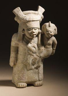Mother and Child, Mexico, Southern Veracruz, Nopiloa, 600-900, Ceramic with slip #babywearing #babywearingworldwide #historicalbabywearing