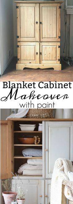 Cabinet Makeover as blanket storage cabinet
