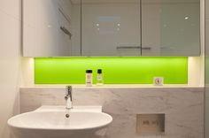 Contemporary Bathroom by Greenbox Architecture Line base of cabinets (bottom) with LED strip lighting