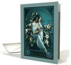 Birthday Wishes Art Nouveau Beautiful Woman card