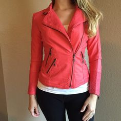 Coral Quilted Zippered Moto Jacket Coral Quilted Zippered Moto Jacket. Faux Leather. 100% polyester lining. Available in S-M-L. One of each size available. No Paypal. No trades. 10% discount on all bundles made with the bundle feature. No offers will be considered unless you use the make me an offer feature.      Please follow  Instagram: BossyJoc3y  Blog: www.bossyjocey.com Jackets & Coats