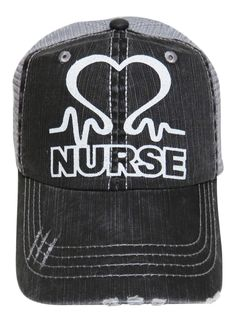 "NEW! White Glitter ""Nurse"" Heart Grey Trucker Cap! Order now at www.shopspiritcaps.com!"