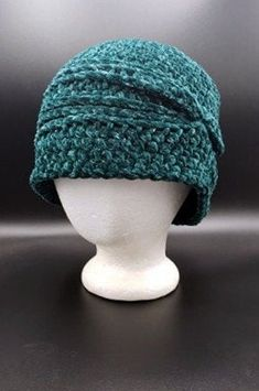 Teal Green Velvet Charleston Hat with silver sparkles by OhanaBoutiqueCrochet on Etsy