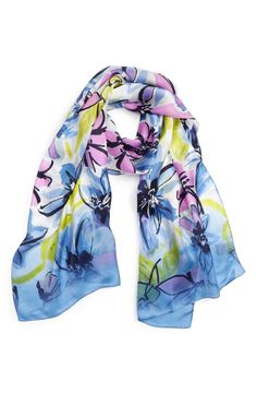 Main Image - Vince Camuto Brushed Blooms Silk Scarf