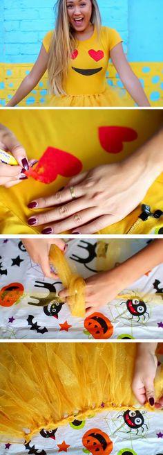 Heart-eye Emoji | 26 DIY Halloween Costume Ideas for Teen Girls that will…