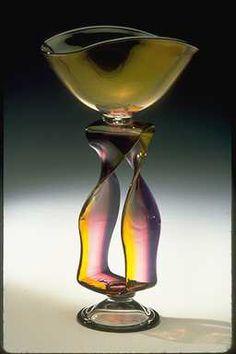 Rainbow Ribbon Vase #handblown #glass #vase by Bernard Katz. Shown in Gold Topaz and Amethyst color. Custom art glass sculpture.
