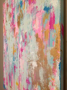 This is an original abstract painting on canvas that I created. It is one of a kind! This item is made to order; any customizations are possible! This can be ordered at any size, just leave preference in notes section. I painted this during a blazing hot week in July. I think the colors in this reflect that...the hot pinks, and warm gold, contrasted by mint and blue (perhaps my desire to stay cool in spite of the heat!)  -Colors: hot pink, light pink, mint, blue, gold, white  -Acrylic paint…