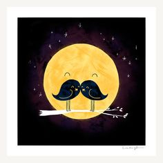 Moonstache  Print by ilovedoodle on Etsy, $30.00