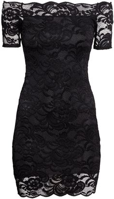 H&M - Off-the-shoulder Lace Dress - Black - Ladies