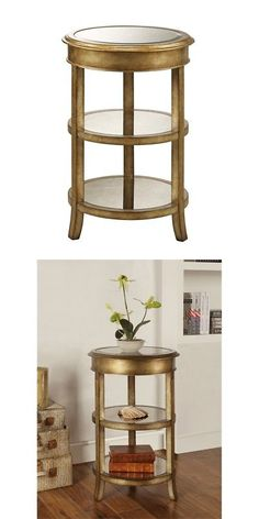 Other Handcrafted Home Accents 160657: Bel Air Accent Table H27.50 , Mirror  Gold