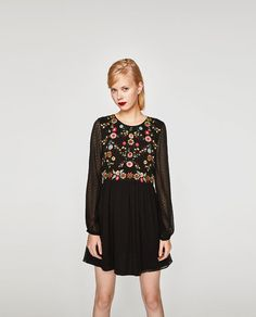 Image 2 of EMBROIDERED DOTTED MESH DRESS from Zara