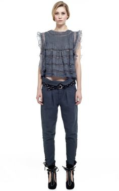 Slate Blue Ojima Top by Isabel Marant for Preorder on Moda Operandi