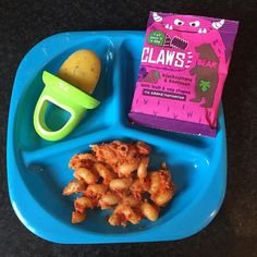 We're not having the most productive of days today! Looking forward to this boy hopefully having an afternoon nap!  For lunch #whatifedbaby was spirals pasta in roasted red pepper and tomato sauce a mango and passionfruit ice lolly using our @nubyuk lolly moulds and some @bearnibbles Claws. Think I was being a bit too hopeful - only the ice lolly was touched!  by whatifedbaby