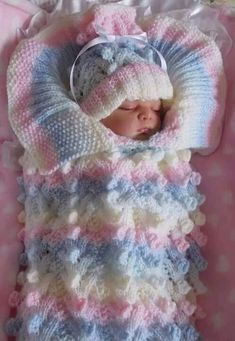 Crochet Cable Stitch Newborn Baby Bunting Cocoon