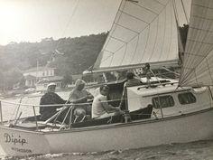 "1968 vintage B&W original professional photograph sailboat ""Dipip"" sailing on Muskegon Lake Michigan  Michigan 14"" x 11"" by Hannahandhersisters on Etsy"