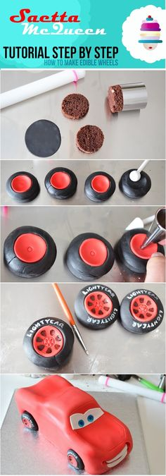 Saetta McQueen tutorial {step by step - edible wheels}