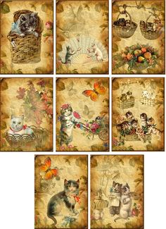 Vintage inspired cats small note cards tags ATC altered art set of 8