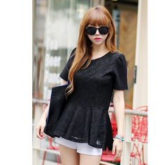 Lace Flared Blouse