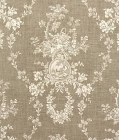 French Country Curtains Neutral Toile Drapes Linen-Colored Window Curtains Shabby Chic French Chic Rod-Pocket One Pair