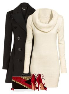 Sweater dress by barbarapoole on Polyvore featuring polyvore, fashion, style, Burberry, H&M, Aquazzura, Edie Parker, T Tahari and clothing