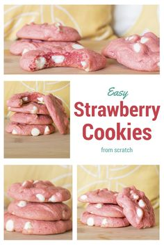 Deliciously soft, chewy, strawberry cookies taste like summer and are made from scratch. Perfect with white chocolate chips. || Kelsey in the Kitchen