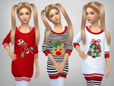 Sims 4 CC's - The Best: Girls Christmas Jumpers by  SweetDreamsZzzzz