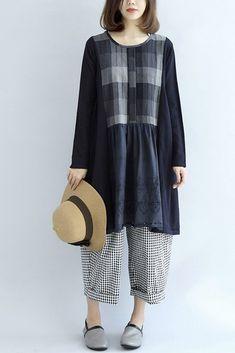 Cotton And Linen Plaid Block Loose Oversize Dress Women Clothes