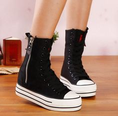 Womens Platform Boots Zip High Top Skateboard Sneakers Canvas Hiking Shoes Yh