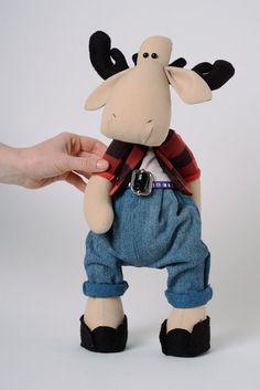 Handmade Kuscheltier Elch in Jeans   von Häuschen von Mutti Flo  auf DaWanda.com