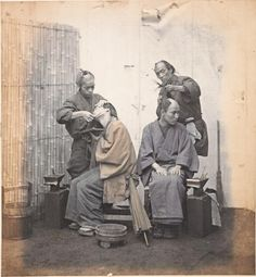 Really interesting old Japanese photo...  Barbers / Felice Beato / 1863-1868 / Japan / albumen silver photograph, color dyes