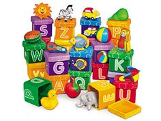 """What better way to discover the alphabet than with fun-filled boxes tots will love to explore! Each 3"""" vinyl box features big, bold letters, super-bright colors and adorable images for each letter sound…and when tots open them up, they find a fun, matching manipulative hidden inside! 26 boxes come in a handy tote; manipulatives are made of soft, toddler-safe vinyl"""