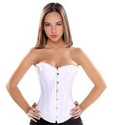 b184f61f8d09a Damen Gothic Satin Vollbrust Korsett Corsage Waist Cincher Top Große Größen  Braut Weiß 4XL. Diese Mode Korsett ist weit verbreitet in Hochzeit ...