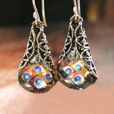 Peacock Earrings Swarovski Peacock Eye Crystal by DorotaJewelry, $38.00