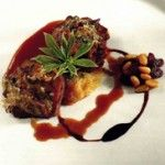 Receta:+Solomillo+en+costra+de+hongos+sobre+cebolla+confitada