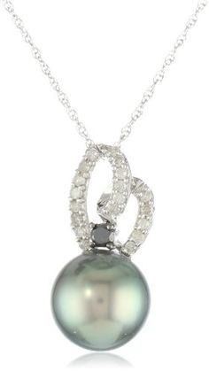 10k White Gold 10-10.5 MM Tahitian and Black and White Diamond Pendant Necklace (0.14 Cttw, G-H Color, I2-I3 Clarity... $174.13