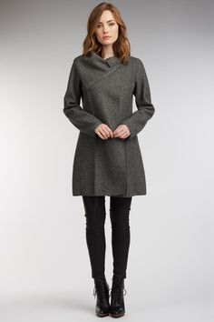 Womens eco-friendly Indi Cover Coat, made from boiled wool and sustainable alpaca. Ultra warm, this coat is created with elegant details by fair trade artisans in Peru. Color: charcoal gray.