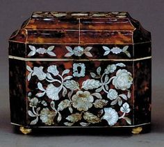 Antiques faux tortoise and inlaid mother of pearl tea caddy from seller dodgestables