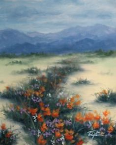 "MARY TAGLIERI ""DESERT POPPIES"" Landscape, Signed, Double Matted Print 16"" X 20""  
