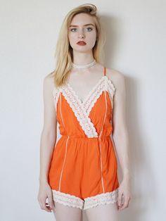 Cadence Crochet Trim Romper (Orange)