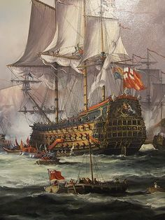 Detail of English King Charles II Receiving the Fleet After the Battle of Sole Bay 1672 by John Bentham-Dinsdale b 1927 (1) by mharrsch, via Flickr