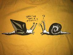 Vintage Volcom Snails You got a Problem T Shirt Mens Medium Yellow Skate Surf  #Volcom #GraphicTee