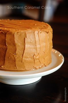 This Southern Caramel Cake Recipe is a traditional caramel cake made from an heirloom family recipe. It's delicious topped with homemade caramel icing! 13 Desserts, Delicious Desserts, Yummy Food, Desserts Caramel, Caramel Recipes, Tasty, Frosting Recipes, Cake Recipes, Dessert Recipes