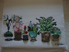 Original sea glass art work by Vivoan on Etsy listing at https://www.etsy.com/listing/198131532/genuine-sea-glass-art-plants-in-planters