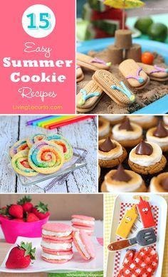 15 Easy Summer Cookie Recipe Ideas. So many cute cookies! LivingLocurto.com