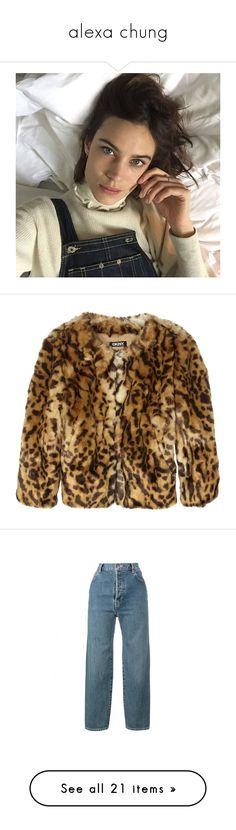 """alexa chung"" by danamaybe ❤ liked on Polyvore featuring alexachung, outerwear, jackets, coats, fur, coats & jackets, dkny jacket, leopard print faux fur jacket, leopard faux fur jacket and dkny"
