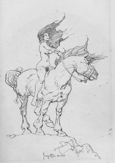 Girl on a Horse by Frank Frazetta ~ such an awesome drawing, one of my favorites.
